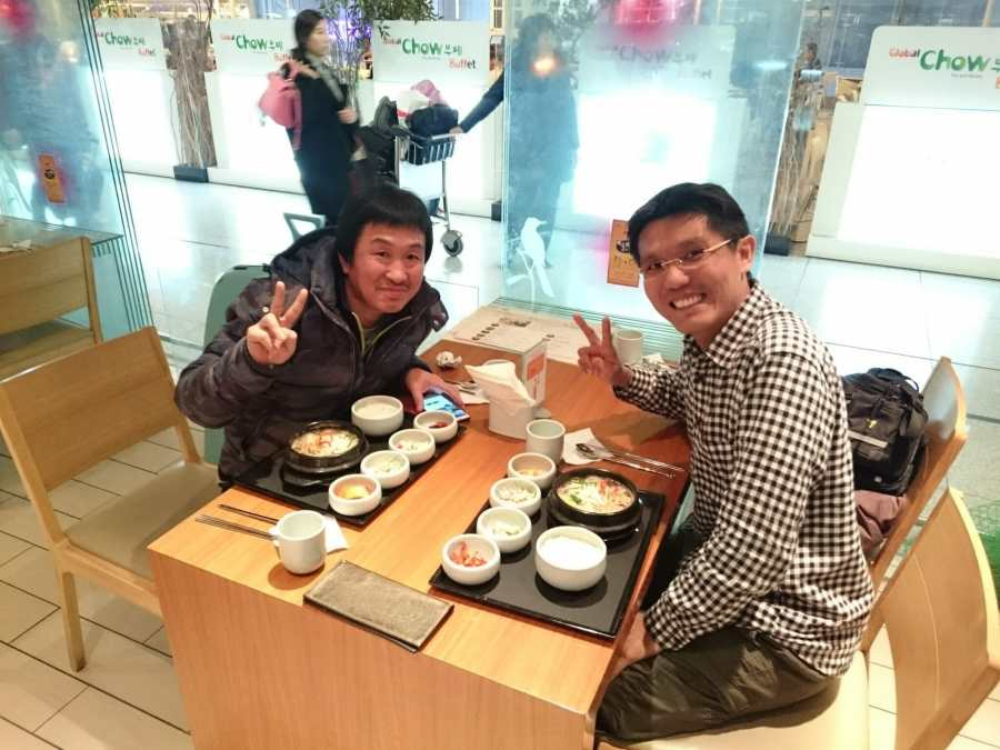 Two friends meet for traditional Korean lunch in Seoul