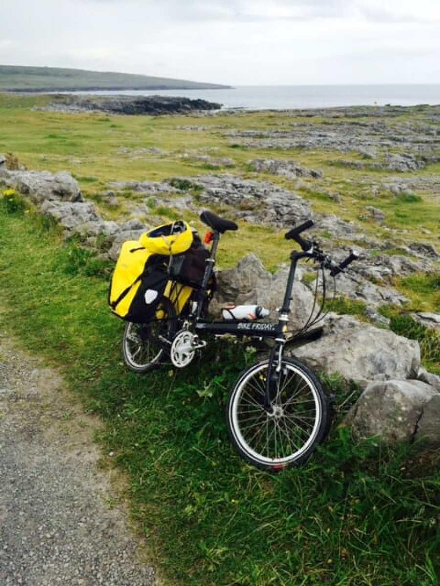 biking along the Irish coast with a fully loaded folding bike