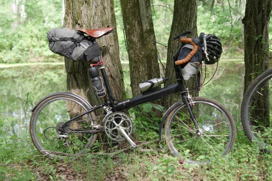 Cycling through wooded countryside on the Search Brigade Ride