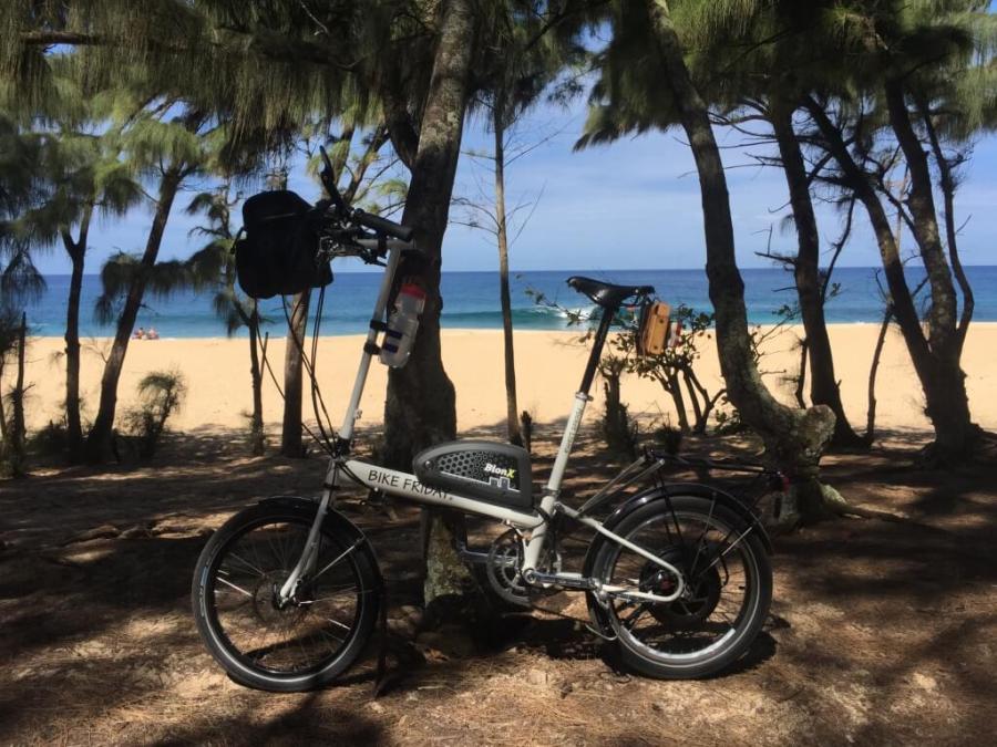 e-assist Folding Bike on Beach in Oahu Hawaii