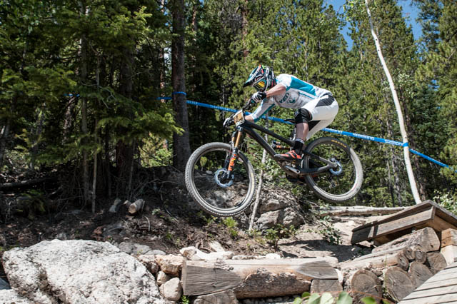 "Jered Graves keeping the bigger (27.5"") wheels of his prototype SB6c off the ground on Stage 1."