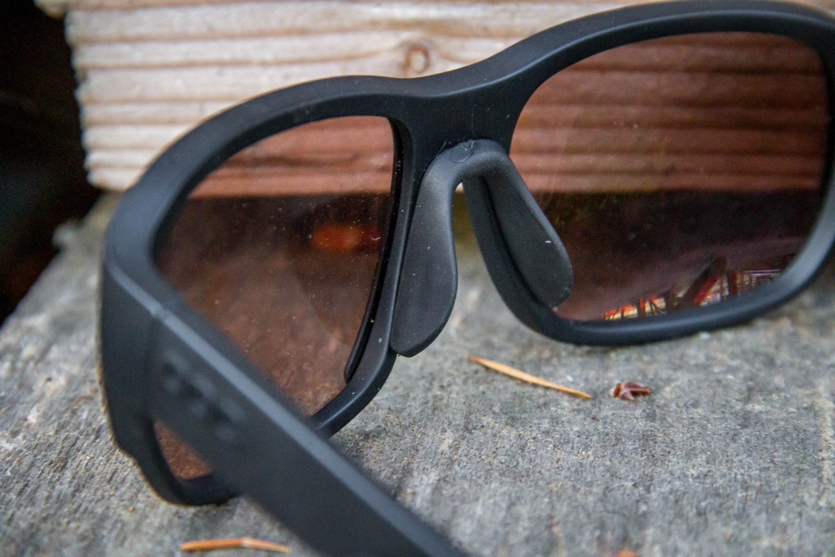 The rubber nose piece keeps the glasses very secure, and is quite comfortable.