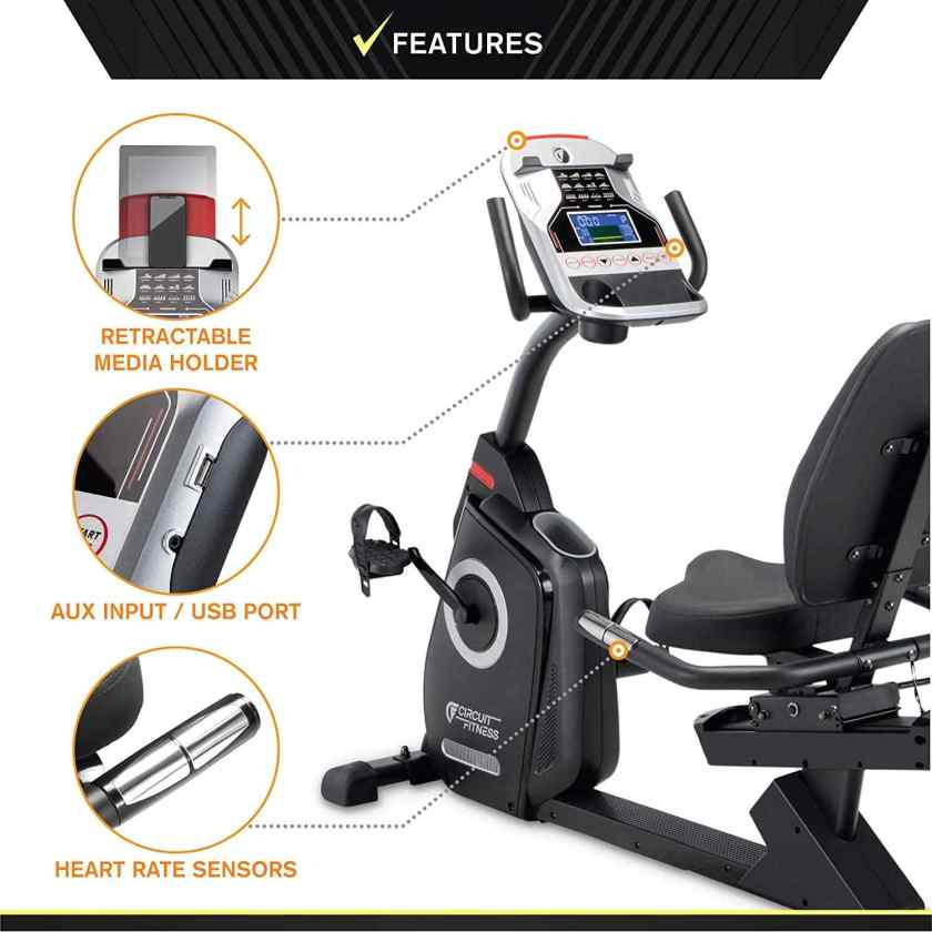 Circuit Fitness Magnetic Recumbent Exercise Bike AMZ-587R