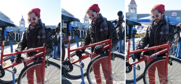 Per Ellingson adds style to the repair area while removing a broken water bottle cage.