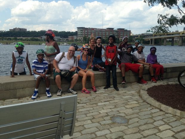 Positive Spin Youth stopping for a break after biking to the river during Summer Dreamers 2016