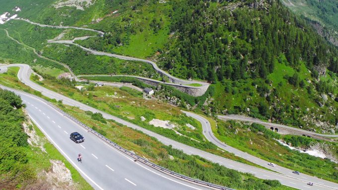 View on the Grimsel and Furka pass - Gletch in the middle