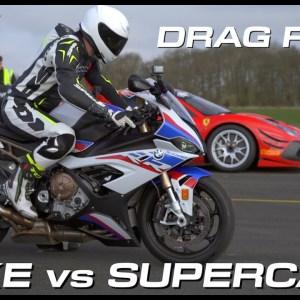 Drag Race! Bike vs Lots Of Supercars In 4K!