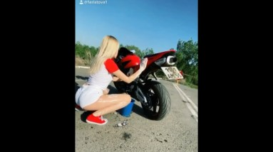 Cute Biker Chick - Honda Lover's