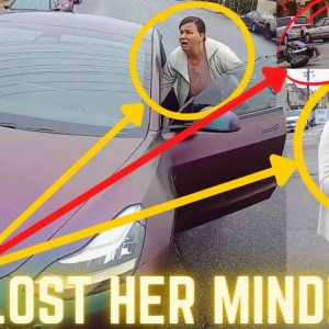 LADY LOST HER MIND AFTER SHE HIT BIKER WITH HER TESLA CAR! EPIC, KIND & UNEXPECTED MOTO MOMENTS 2021