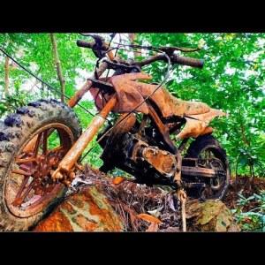Restoration mountain motorbike old broken  Restore old abandonned KTM two stroke motorcycle