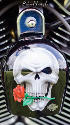 Biker Skull and Rose