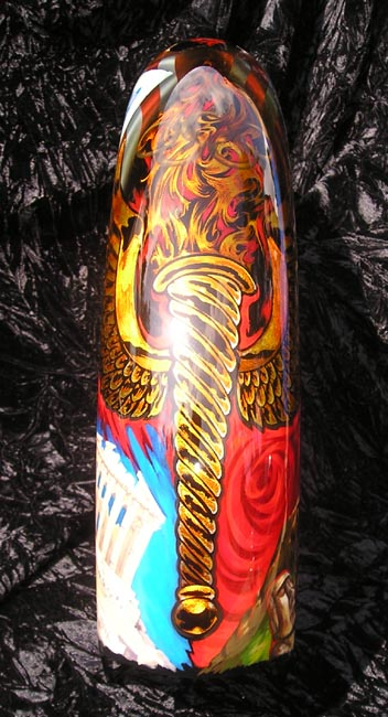 I have etched the Olympic torch, the torch is also one of Joe's tattoos.