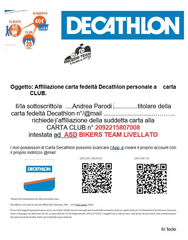 Carta Decathlon Livellato