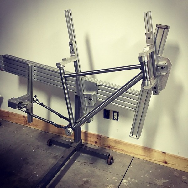 Rad bicycle company, frame in assembly jig