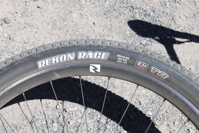 Maxxis Rekon Race XC tire, side shot