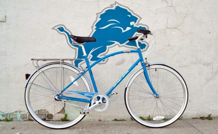 Detroit Lions A-Type Detroit Bikes made in the USA limited edition Lions A-Type chromoly steel city commuter cruiser bike NFL Football team commemorative edition