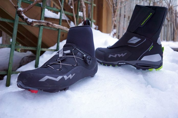northwave extreme GTX road and XCM mountain bike winter cycling shoes
