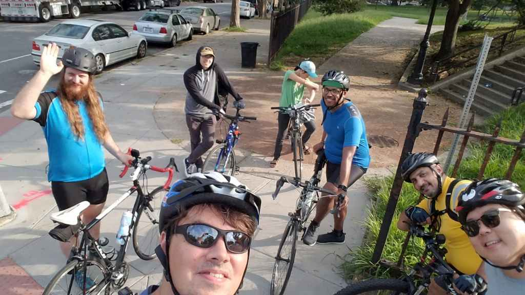 A group selfie before the start of Bike South Brooklyn's feeder ride as part of the Bay-to-Bay Ride.