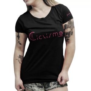 Camiseta casual feminina preta - ciclismo