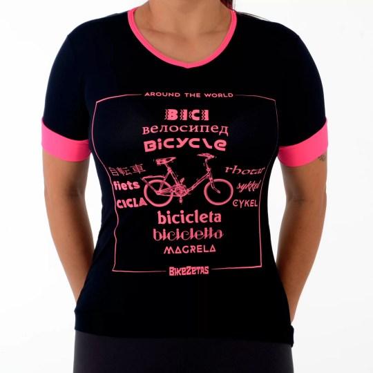 Camiseta Around the world preta dry fit / poliamida
