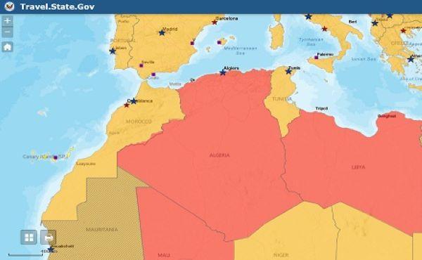 أمريكا تنشر خريطة المغرب كاملة وتصنف المملكة منطقة آمنة، في حين تحذر من السفر إلى الجزائر