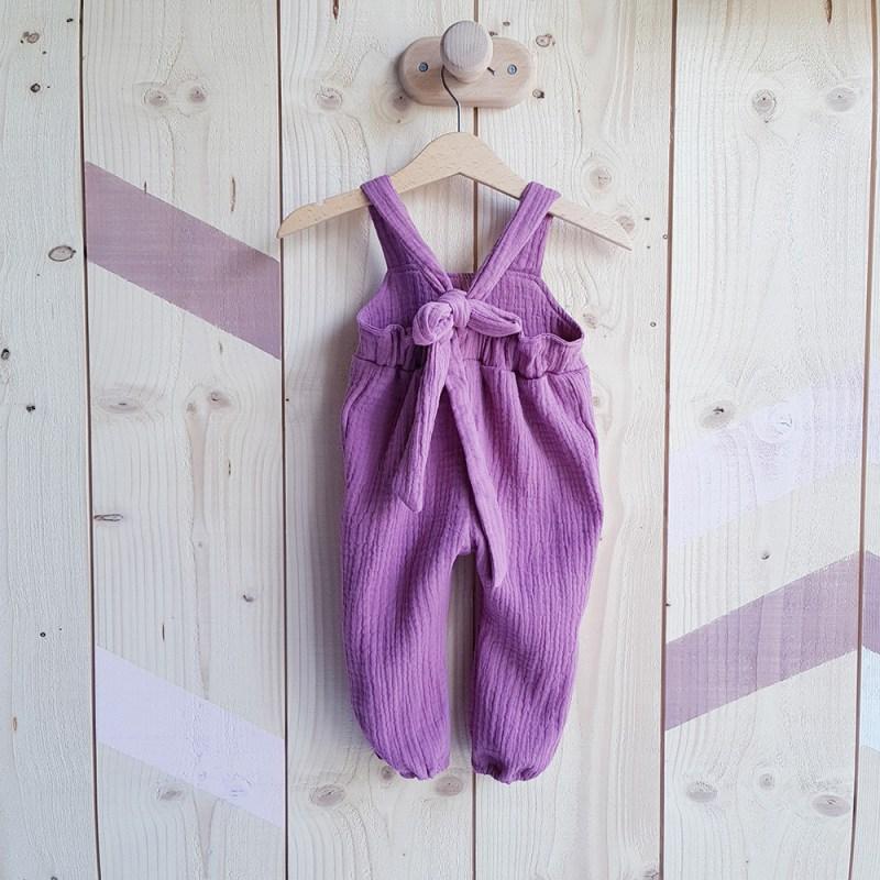 combinaison salopette bebe fille longue rose violet noeud bilboquet cadeau naissance