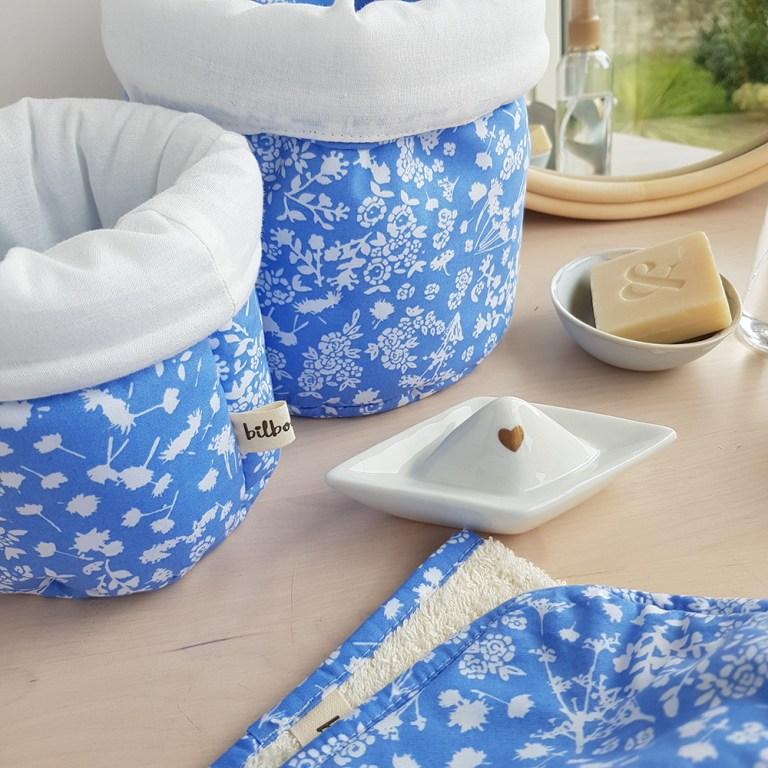 paniere rengement panier tissu bleu liberty cadeau naissance liste salle bain bebe