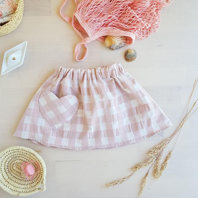 jupe jupette fille petite courte fillette vichy rose nude carreau gros vetement enfant lyon cadeau ete bilboquet