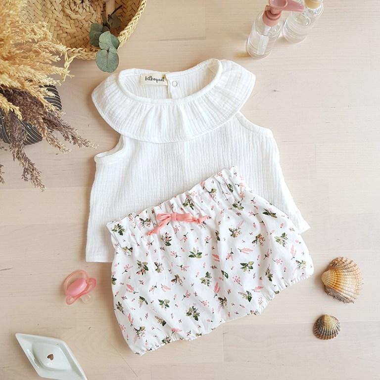 vetement bebe fille enfant createur mode enfantine lyon made in france creation francaise bilboquet kids bloomer culotte petite fleur rose naissance cadeau