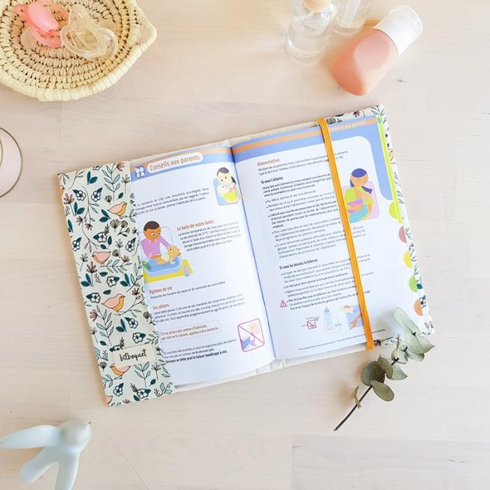 cadeau naissance bebe lyon protege carnet sante fille housse oiseaux beige idea originale