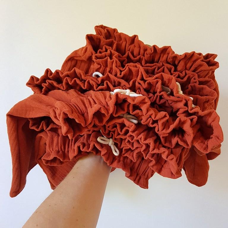 bloomer short culotte bas pantalon bebe fille unisexe rouge orange rouille double gaze coton oekotex made in france fabrication francaise lyon bilboquet atelier couture