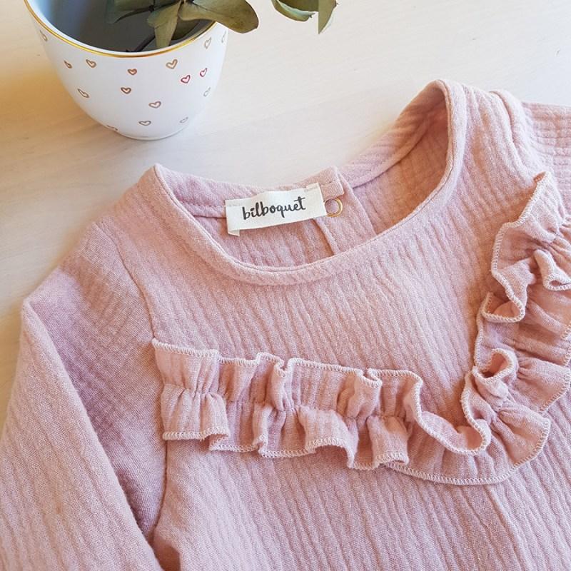 blouse rose manche longue haut petite fille fillette double gaze oekotex createur lyon bilboquet kids