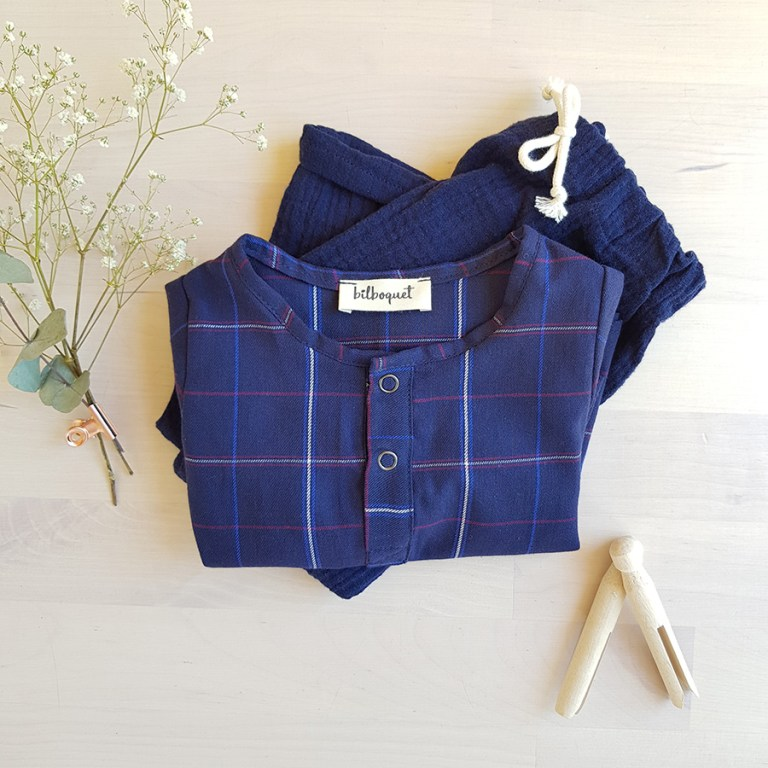 vetement chemise bebe garcon tartan ecossais bleu carreaux vetement cadeau naissance tunisien mode enfant made in france fabrication francaise couture lyon bilboquet kids ensemble