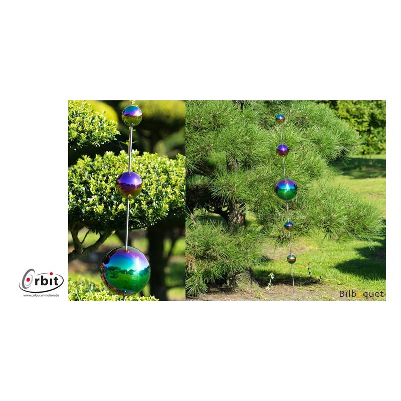 decoration design pour jardin boules anodisees