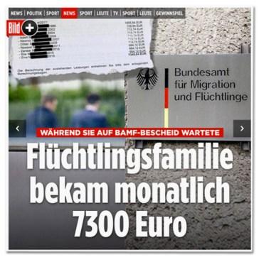 Screenshot Bild.de - Während sie auf Bamf-Bescheid wartete - Flüchtlingsfamilie bekam monatlich 7300 Euro