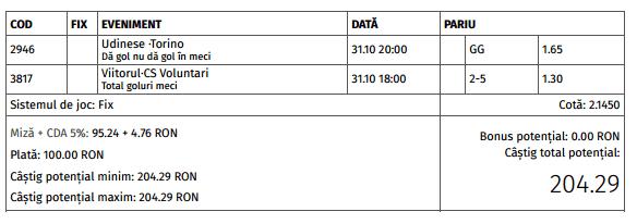 Biletul zilei cota 2 (31.10.2016)