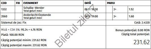 Biletul zilei fotbal 6 Noiembrie 2016