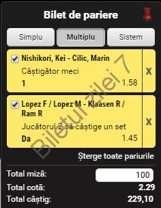 Biletul zilei tenis 18 Noiembrie 2016