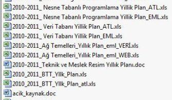Veri Tabanı ve Web Programcılığı Dalları Yıllık Planları ve Zümreleri