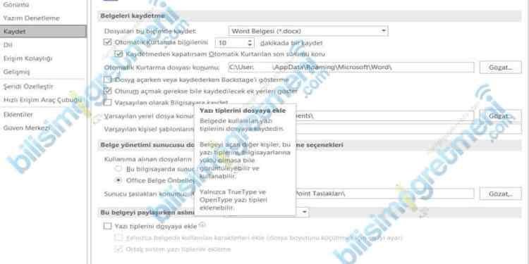 Ofis Belgelerine (Word-Excel-PowerPoint) Font Ekleme-Font Gömme