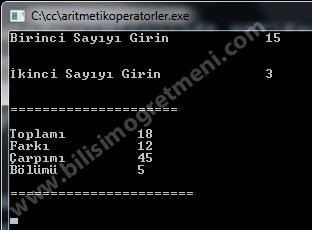 C#'da Aritmetik Operatörler