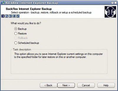 Internet Explorer'ı kolayca yedekleyin BackRex Internet Explorer Backup