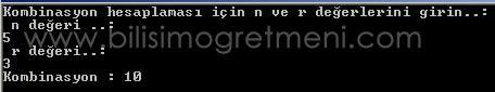 C# Örnekleri – Kombinasyon Hesaplama Programı