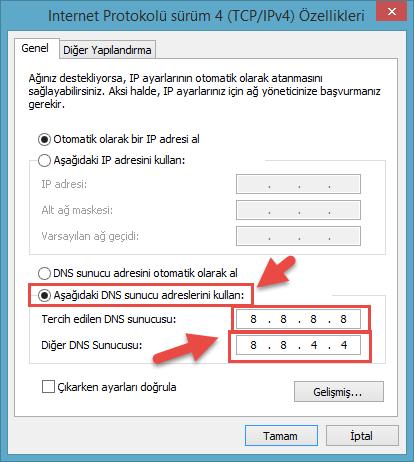 windows 10 dns değiştirme
