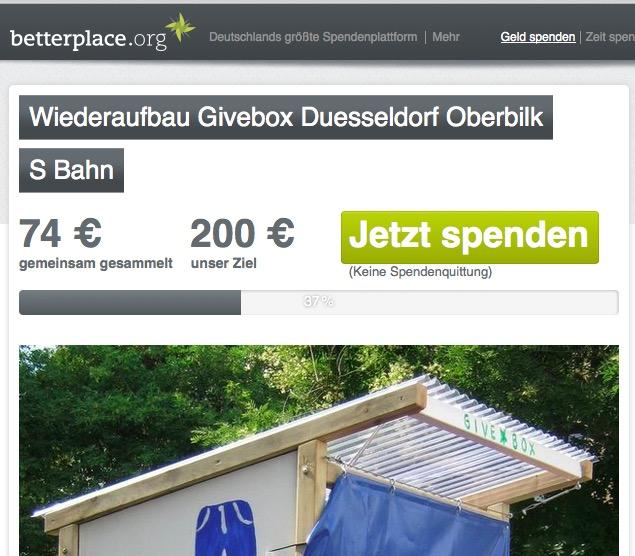 Givebox am S-Bahnhof Oberbilk wird repariert