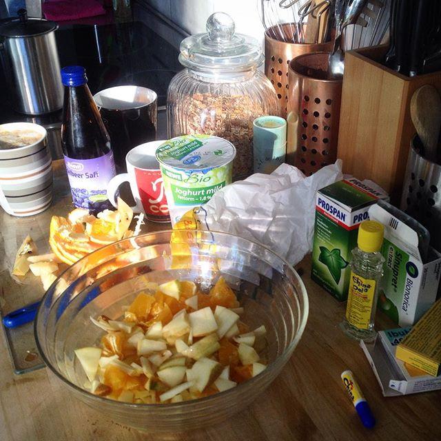 'Schnodderseuchen-Alarm' - Mist, nun hat es uns doch erwischt... Versuchen es mit Vitaminen, Tee, Ruhe einzudämmen und Chinaöl Dampfbädern auszuräuchern...
