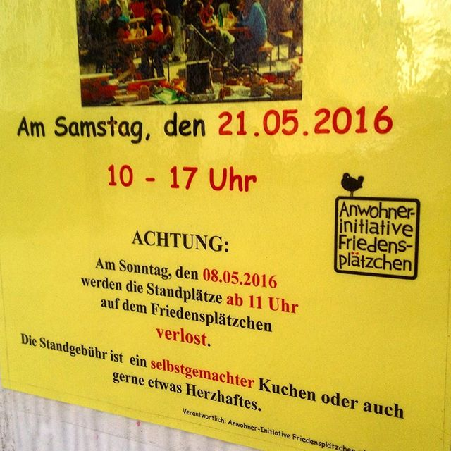 Übrigens – am Sonntag werden die Plätze für den Nachbarschaftströdel auf dem Friedensplätzchen verlost und vergeben :-)