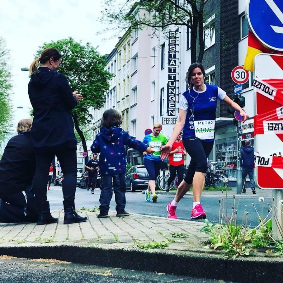 An der Marathonstrecke in Düsseldorf