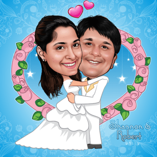 wedding day couple love caricature