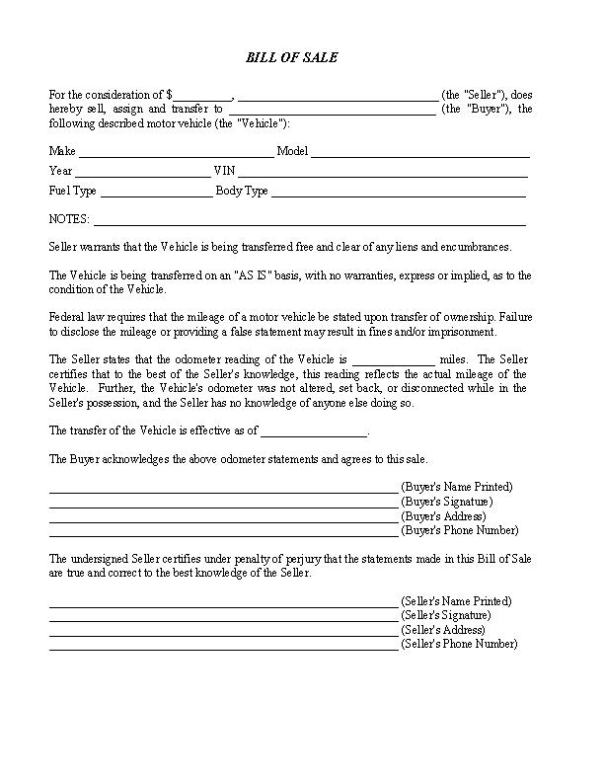 Arizona RV Bill Of Sale Form
